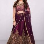 Purple Embroidered Art Silk Unstitched Lehenga With Dupatta